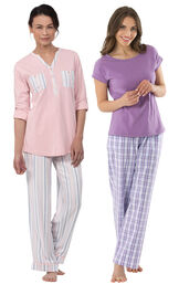 Soft Stripe Henley PJs and Perfectly Plaid PJs image number 0