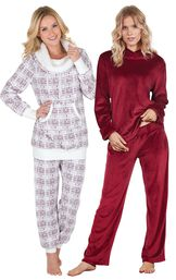 Models wearing Tempting Touch Pajamas - Garnet and Chalet Shearling Rollneck Pajamas.