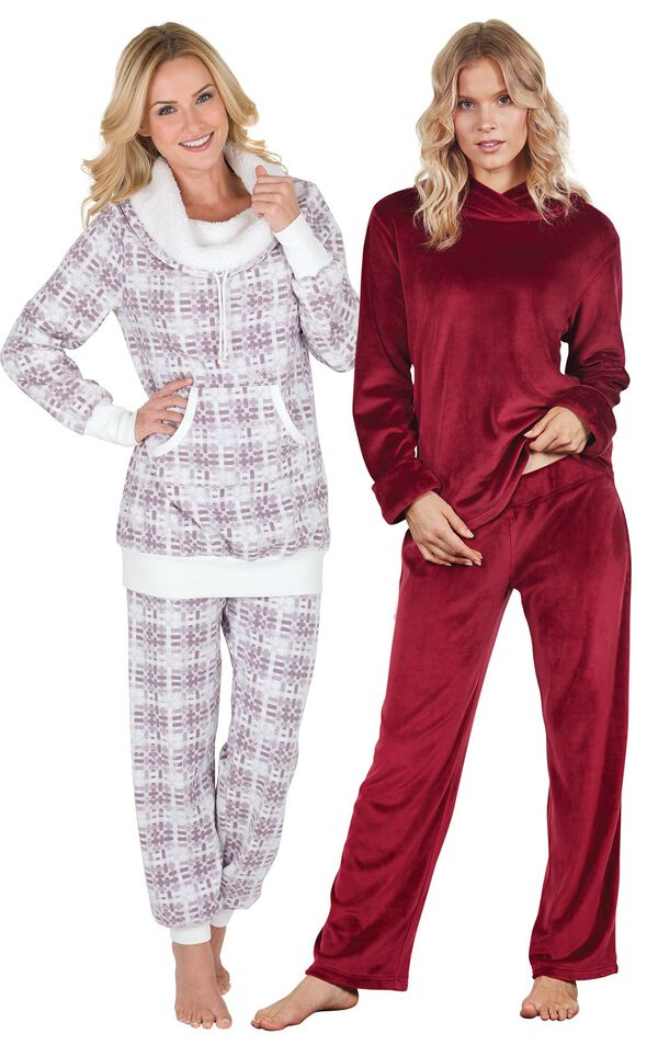 Models wearing Tempting Touch Pajamas - Garnet and Chalet Shearling Rollneck Pajamas. image number 0
