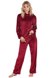 Model wearing Deep Red Micro Velvet Hoodie PJ for Women image number 0