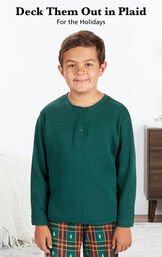 Boy wearing Red and Green Christmas Tree Plaid Pajamas with the following copy: Deck Them Out in Plaid for the Holidays image number 2