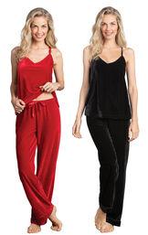 Models wearing Velour Cami Pajamas - Ruby and Velour Cami Pajamas - Black.