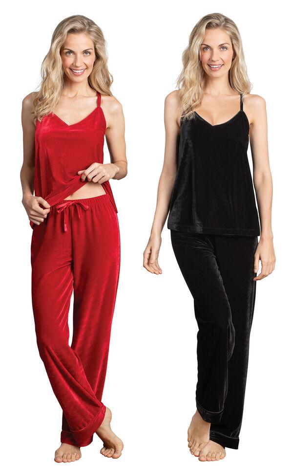 Models wearing Velour Cami Pajamas - Ruby and Velour Cami Pajamas - Black. image number 0