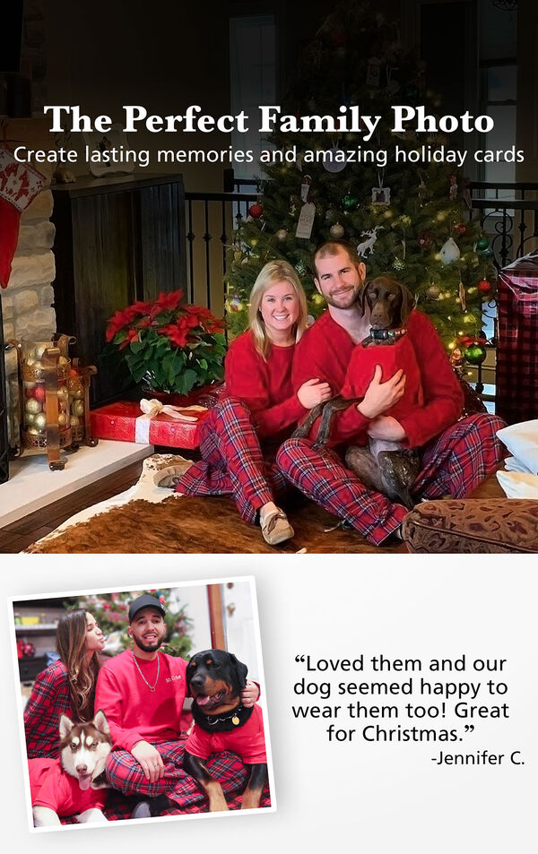 Couples and Pets wearing  Stewart Plaid Matching Pajamas with the following copy: The Perfect Family Photo - Create Lasting Memories and Amazing Holiday Cards. Customer Quote: Loved them and our dog seemed happy to wear them too! Great for Christmas. -Jenn C image number 1