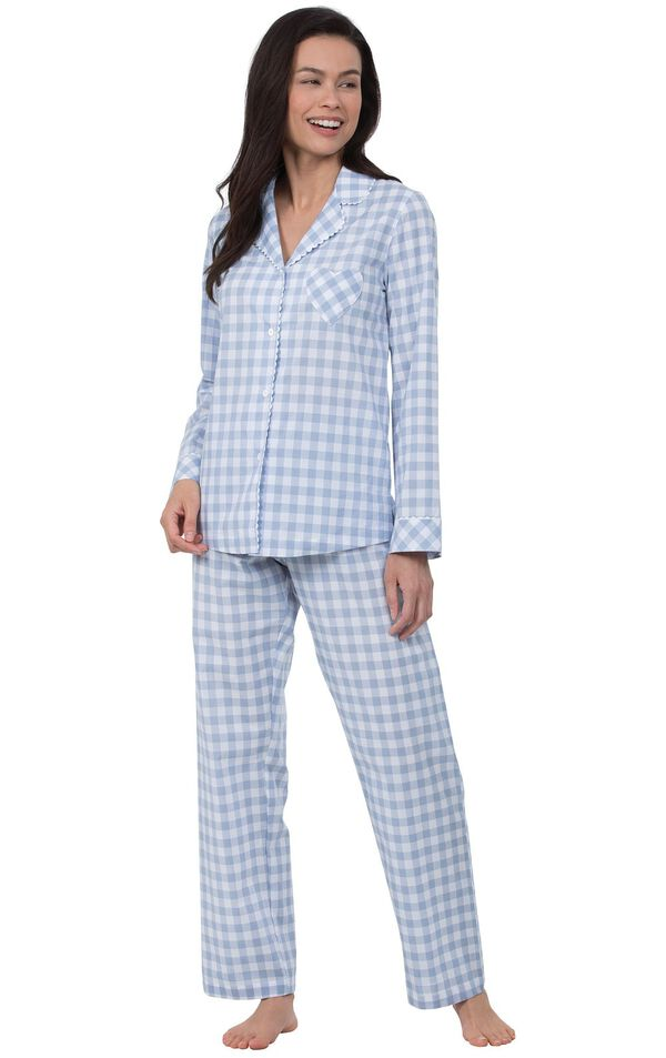 Model wearing Blue and White Gingham Button-Front PJ for Women image number 0