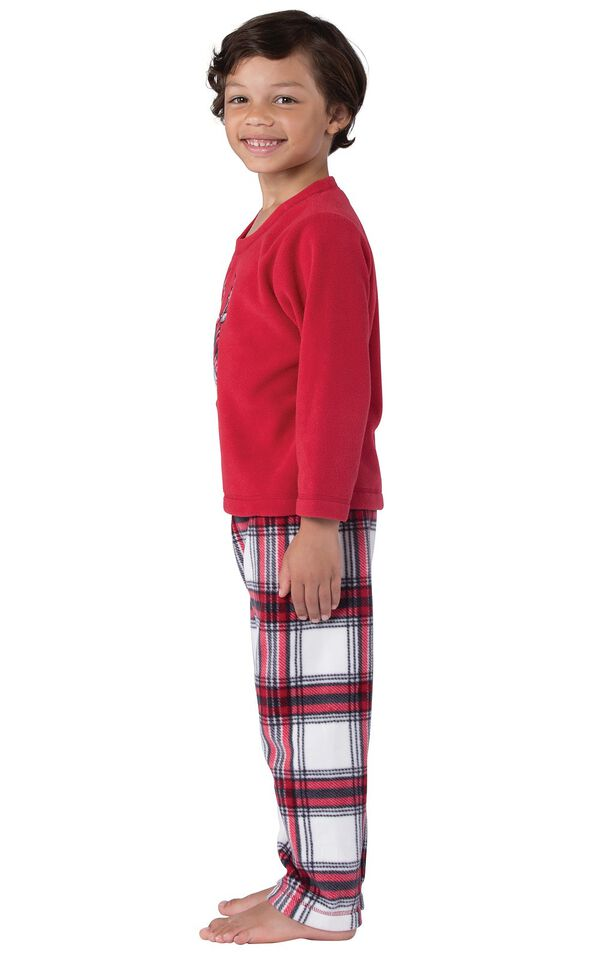Model wearing Red and White Plaid Fleece PJ for Kids, facing to the side image number 2
