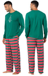 Model wearing Red and Green Christmas Stripe PJ for Men, facing away from the camera and then to the side image number 1