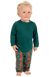 Model wearing Red and Green Christmas Tree Plaid Thermal Top PJ for Infants image number 0