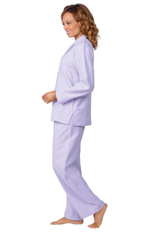 Model wearing Lavender Flannel Boyfriend pajamas, facing to the side image number 3