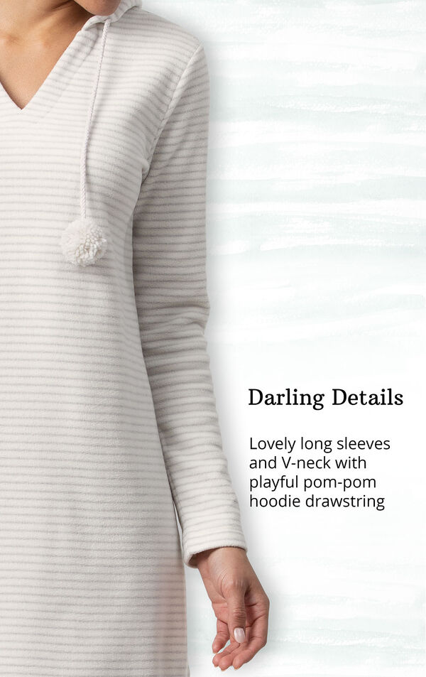 Gray Stripe Sleepshirt with Hood for Women image number 3
