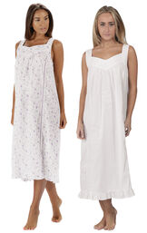 Models wearing Nancy Nightgown - Lilac Rose and Nancy Nightgown - White image number 0