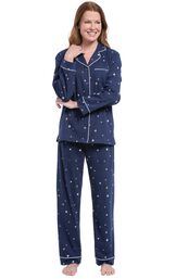 Model wearing Navy Blue Star Button-Front PJ for Women image number 0