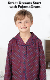 Model wearing Deep Red Print Button-Front PJ for Kids with the following copy: Sweet Dreams Start with PajamaGram image number 2