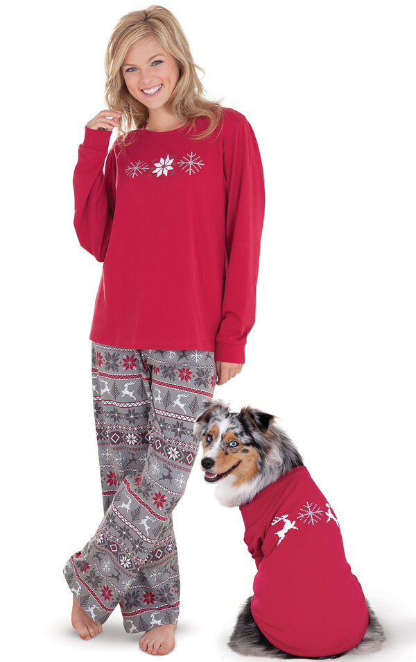 Models wearing Red and Gray Fair Isle Matching Pajamas for Pet and Owner image number 0