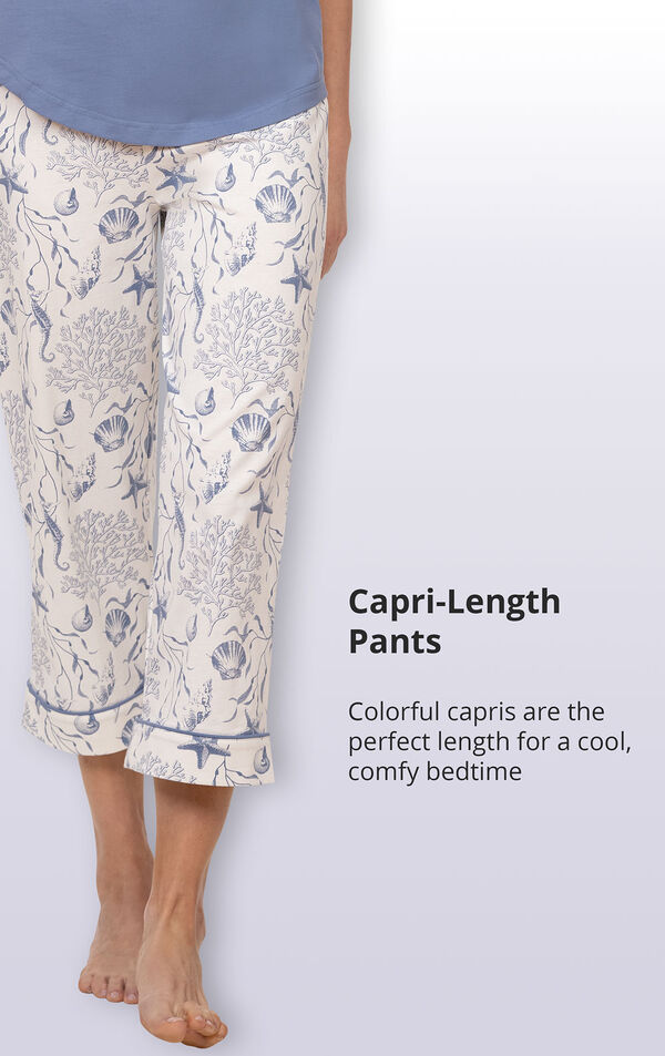 Colorful capri-length pants are the perfect length for a cool comfy bedtime image number 4