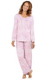 Model wearing Pink Print Tie-Neck PJ for Women image number 0