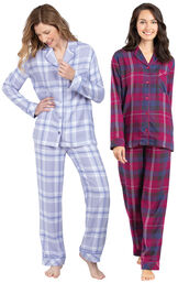 Models wearing World's Softest Flannel Boyfriend Pajamas - Lavender Plaid and World's Softest Flannel Boyfriend Pajamas - Black Cherry Plaid. image number 0