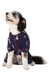 Christmas Dogs Flannel Dog Pajamas - Navy