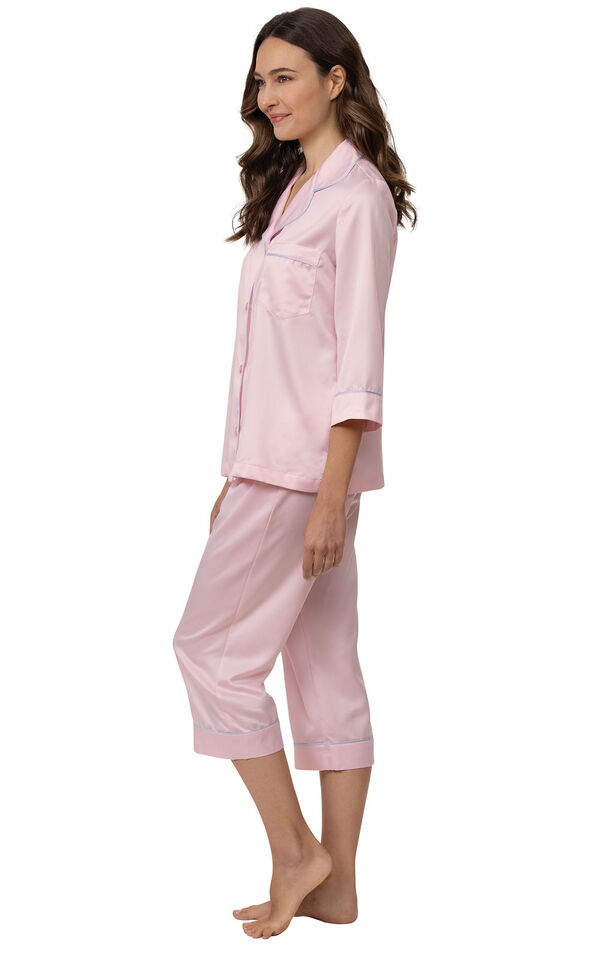 Model wearing Light Pink Satin Button-Front Capri PJ with Blue Trim for Women facing to the side image number 2