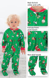 Close-ups of Charlie Brown PJ features which include red rib-knit collar and cuffs, full-zip front and inseam and non-skid treads image number 2