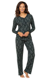 Model wearing Whisper Knit Henley Pajamas - Green Forest image number 0