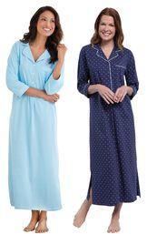 Models wearing Classic Polka-Dot Nighty - Blue and Classic Polka-Dot Nighty - Navy. image number 0