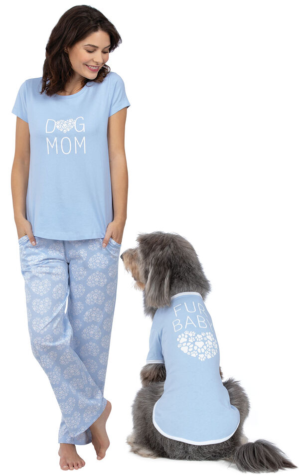 Models wearing Light Blue Paw Print Heart Pajamas for Pet and Owner image number 0