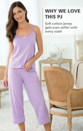 Model wearing Oh-So-Soft Pin Dot Capri Pajamas - Lavender with the following copy: Why We Love This PJ: Soft cotton jersey gets even softer with every wash image number 3
