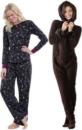 Models wearing Wine Down Pajamas and Hoodie-Footie - Mink Chocolate.