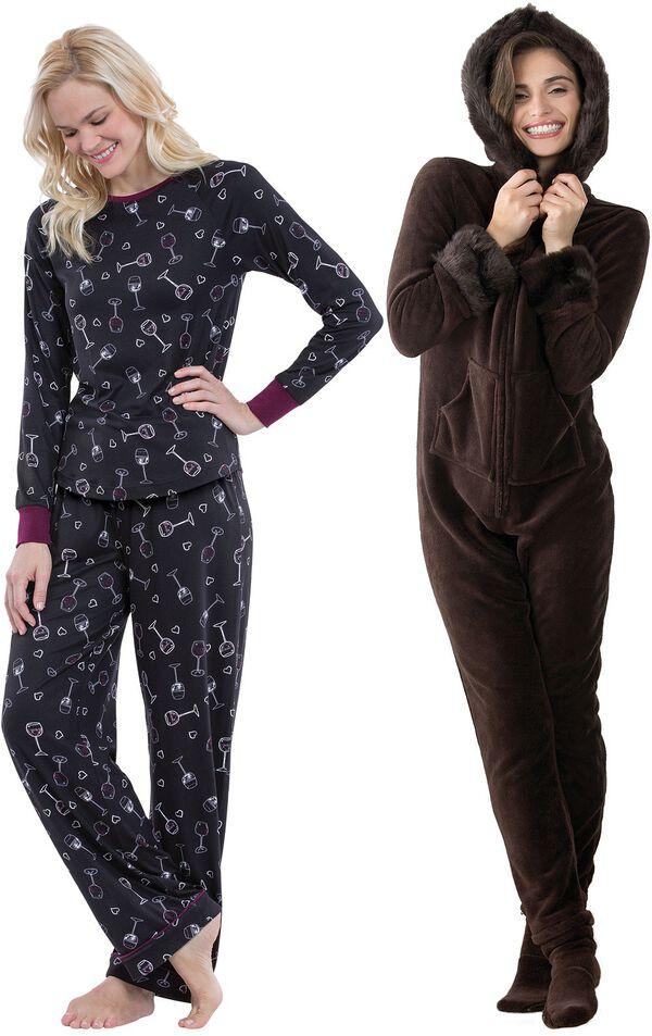 Models wearing Wine Down Pajamas and Hoodie-Footie - Mink Chocolate. image number 0