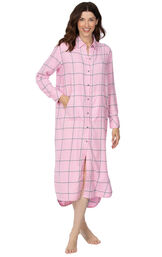 Model wearing World's Softest Flannel Sleepshirt - Pink Plaid with her hand in the front pocket image number 2