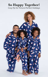 Family wearing Polar Bear Fleece Matching Family Pajamas with the following copy: So Happy Together! Cozy PJs for Picture-Perfect Holidays image number 1