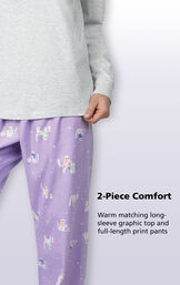 """2-Piece Comfort - Warm matching long-sleeve gray graphic top with """"Purrfect"""" graphic and purple full-length cat print pants image number 5"""