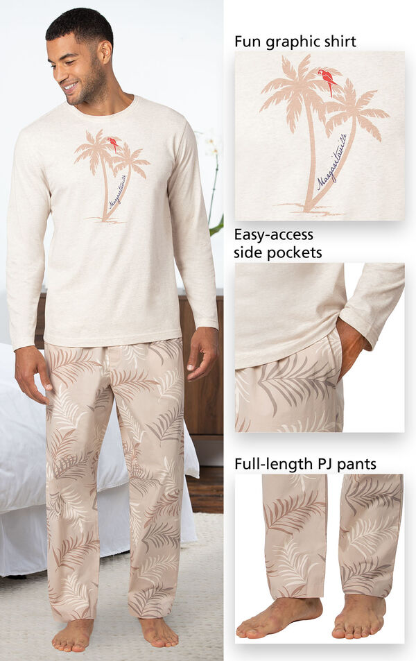 Margaritaville Easy Island Men's Pajamas has a fun graphic shirt, easy-access side pockets, and full-length PJ pants - all shown in image close-ups image number 3