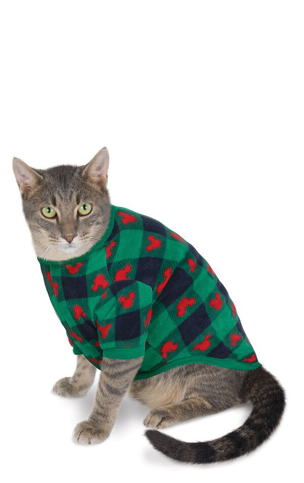 Cat wearing Red and Green Mickey Mouse Holiday PJs image number 0