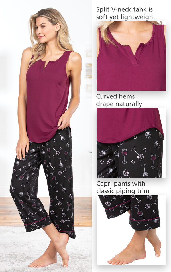 Close-ups of the features of Wine Down Tank and Capri Pajamas such as split v-neck tank is soft yet lightweight, curved hems drape naturally, capri pants with classic piping trip. image number 3