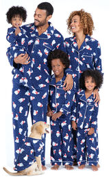 Models wearing Navy Blue with Polar Bear Print Fleece Matching Family Pajamas image number 0