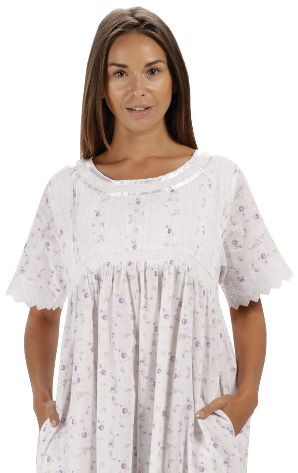 Model wearing Helena Nightgown in Lilac Rose for Women image number 4