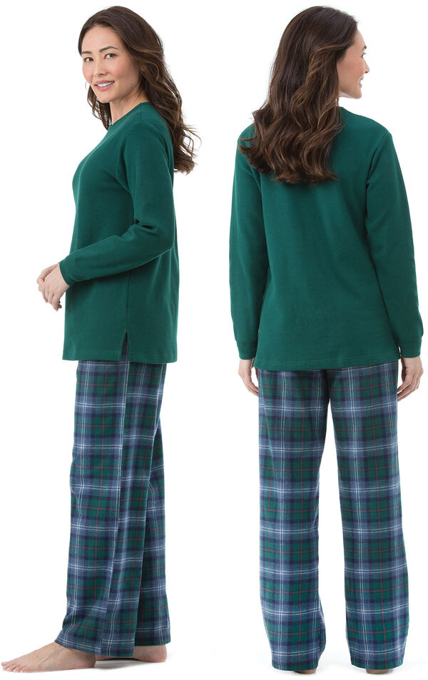 Model wearing Green and Blue Plaid Thermal-Top PJ for Women, facing away from the camera and then to the side image number 1