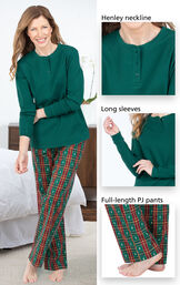 Close-ups of the details of Christmas Tree Plaid Pajamas such as Henley neckline, long sleeves and full-length PJ pants image number 3