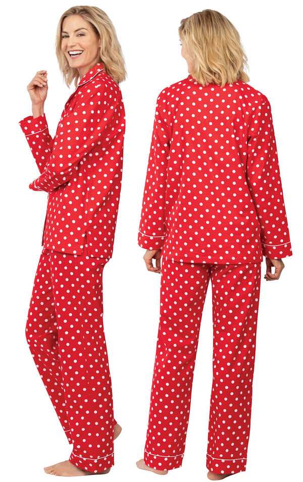 Model wearing Red Polka Dot Button-Front PJ for Women, facing away from the camera and then to the side image number 1