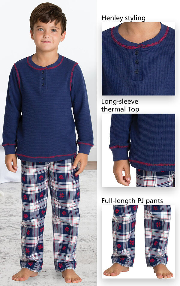 Close-ups of Snowfall Plaid PJ features which include Henley styling, long-sleeve thermal top and full-length pj pants image number 2