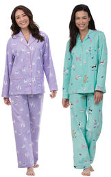 Models wearing Purrfect Flannel Boyfriend Pajamas and Doggy Dreams Boyfriend Pajamas.