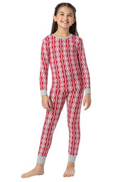 Model wearing Red and White Peppermint Twist PJ for Girls