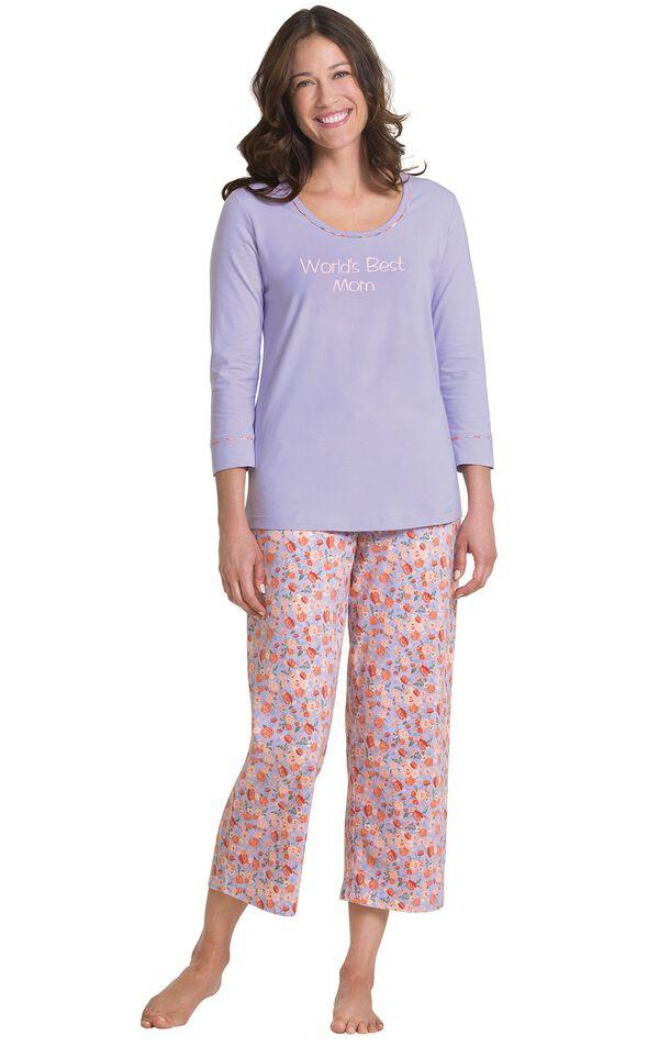 Solid Lavender 3/4-sleeve top with Lavender floral print capris pajamas image number 0