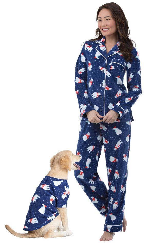 Polar Bear Fleece Matching Pet & Owner Pajamas image number 0