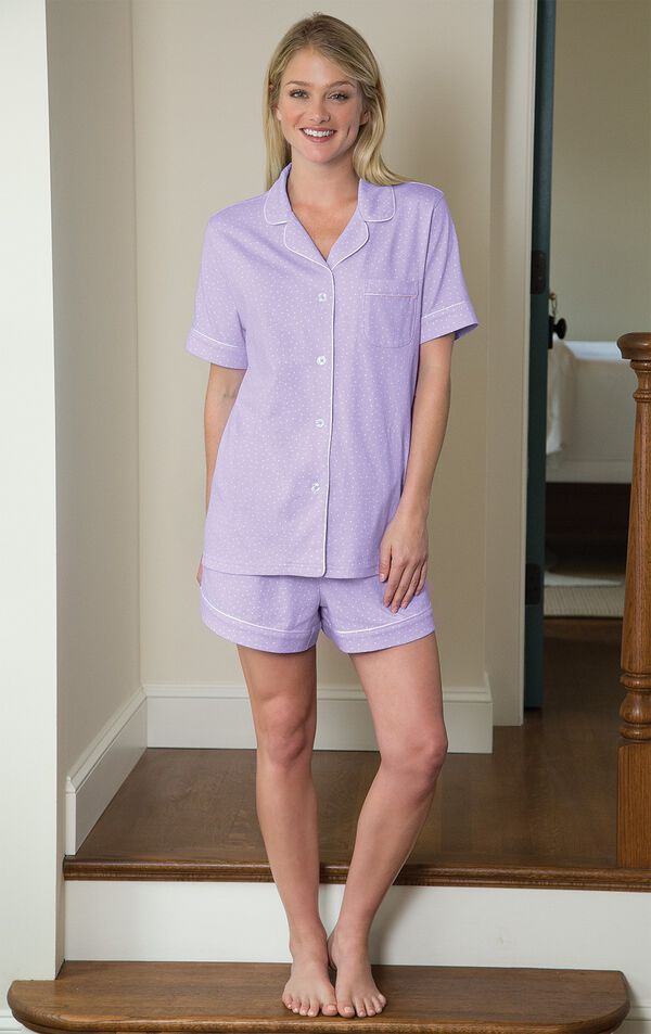 Model standing in hallway wearing Lavender PJs with White Polka Dots - Oh-So-Soft Pin Dot Short Set - Lavender image number 1