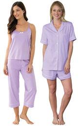 Models wearing Classic Polka-Dot Capri Pajamas - Lavender and Classic Polka-Dot Short Set - Lavender. image number 0