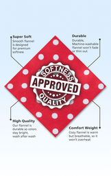 Red with White Polka-Dot flannel fabric swatch with the following copy: Smooth flannel is designed for premium softness. Machine-washable flannel won't fade. Colors stay bright. Cozy flannel is warm but breathable. image number 4