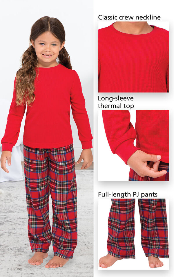 Close-Ups of Stewart Plaid Thermal Top PJ features which include a classic crew neckline, long-sleeve thermal top and full-length PJ pants image number 2